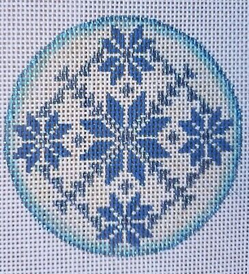 Hand Painted HP Round Ornament Needlepoint Canvas 18 mesh Snowflake Hand Painted Snowflake