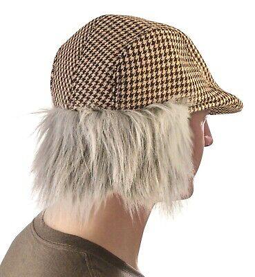 Funny OLD MAN HAT WITH GREY HAIR Irish Fake Wig Golf Cap Costume Joke Newsboy - Wigs Funny
