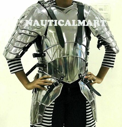 Medieval Knight Warrior Lady Princess Cuirass With Pauldrons Breastplate w tasse