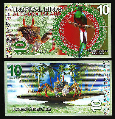 Aldabra Island 10 Dollars 2017 Unc   Tropical Birds
