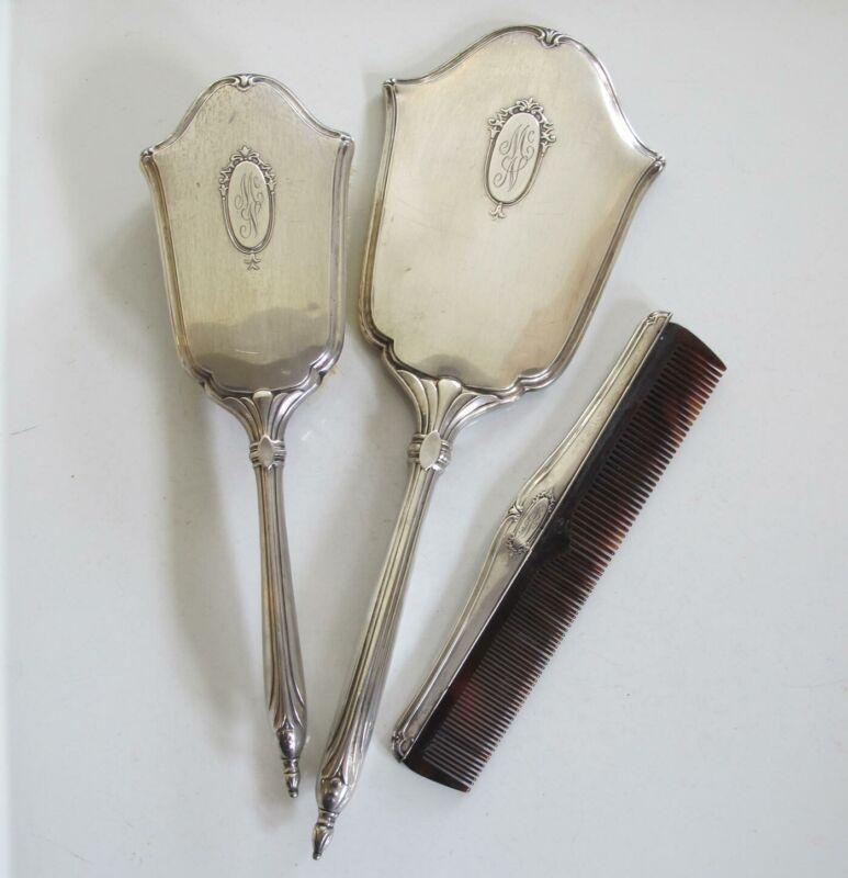 3 Piece Mirror Brush Comb Webster ANTIQUE STERLING SILVER DRESSER SET