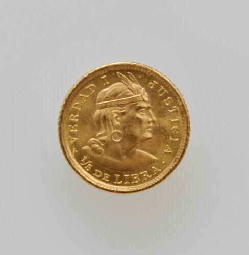 1963 PERU 1/5 LIBRA (POUND) GOLD COIN KM# 210.917 FINE .0471 AGW HIGH GRADE
