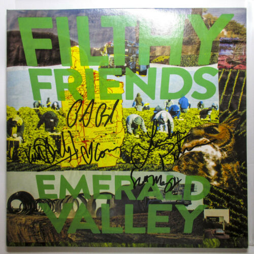 Peter Buck Filthy Friends Full Band Signed Emerald Valley GREEN Vinyl PROOF COA