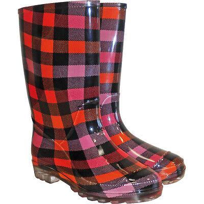 Schwarze Stiefel Frauen (Gummistiefel Damen Regenstiefel Frauen Karomuster Schwarz Rot Gr. 36-42 NEU TOP)