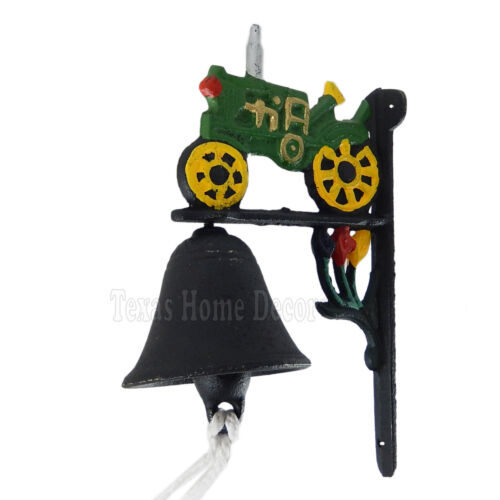 Tractor Dinner Bell Cast Iron Wall Mounted Antique Style Black Green Yellow