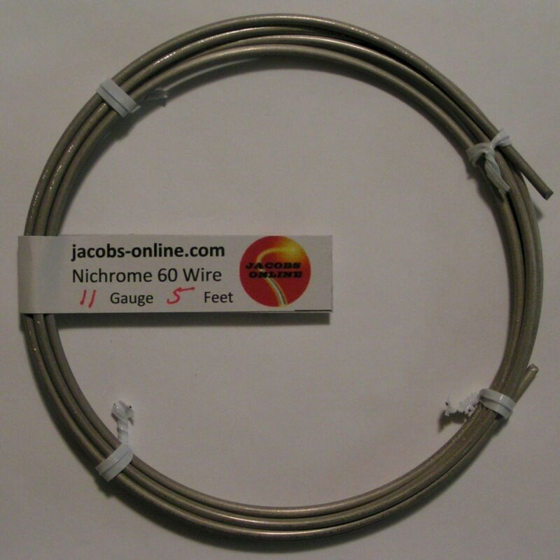 Nichrome 80 resistance wire, 11 AWG (gauge), 5 feet