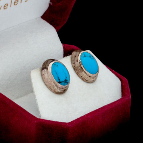 Antique Vintage Deco 925 Sterling Silver Mexican Turquoise Oval Earrings 2.5 g