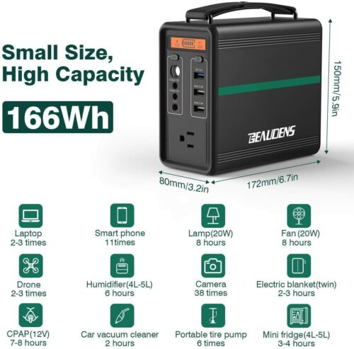 BEAUDENS B-1502 166Wh Portable Power Station