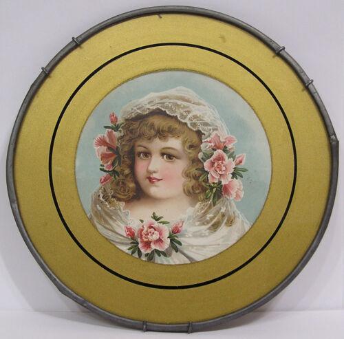 "Vintage Victorian Chimney Flue Cover Lovely Lady Portrait Flowers & Lace 7 3/4"""