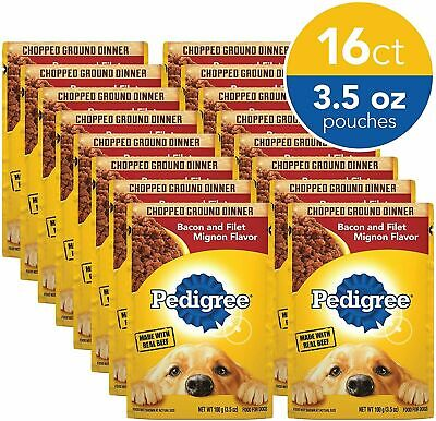 16 Pouches Chopped Ground Dinner Adult Wet Dog Food, Bacon & Filet Mignon Flavor