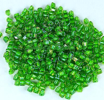 11/0 Triangle TOHO Japan Glass Seed Beads #306-Jonquil/Shamrock Lined 15 grams