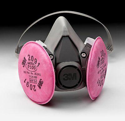 3M 6300 Half Mask Respirator W/ 3M 2091 P100 Filter Cartridge Large *Free Ship*