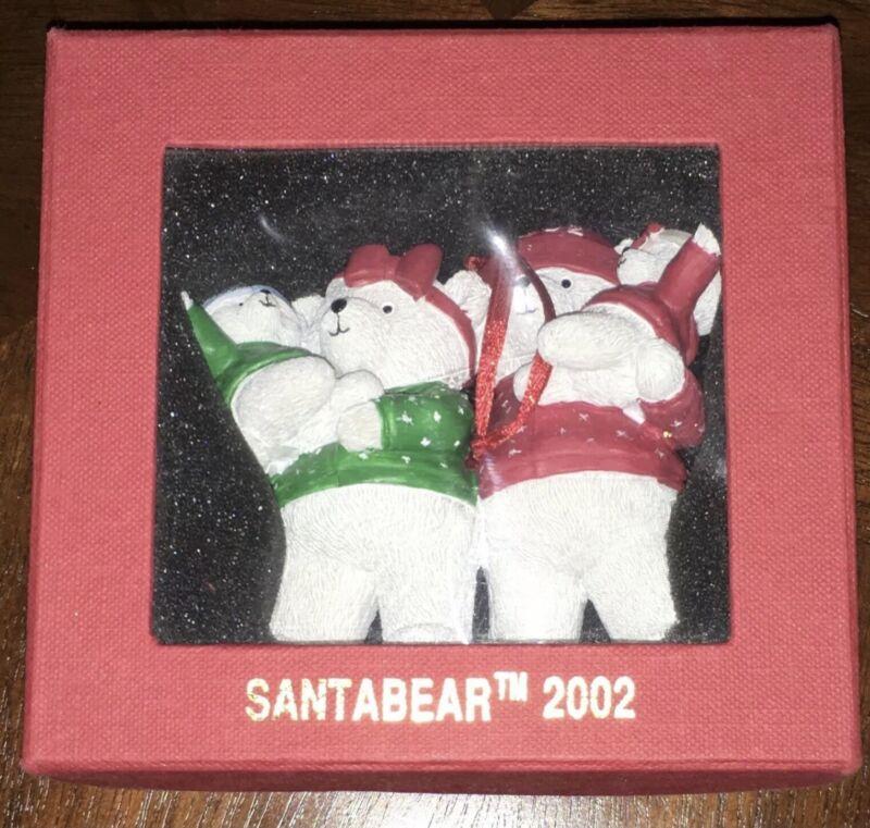 MARSHALL FIRLD'S Santa Family Bear Ornament 2002