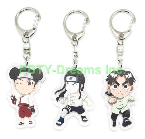 Set of 3 Naruto Anime Acrylic Keychain Tenten, Hyuuga Neji, Rock Lee