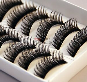 10 Pairs of Thick Natural Fake False Eyelashes Eye Lashes Makeup with Glue