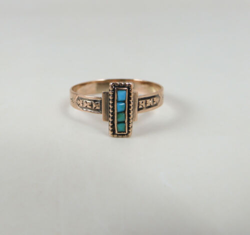 Antique Victorian 14k Rose Gold Persian Turquoise Ring
