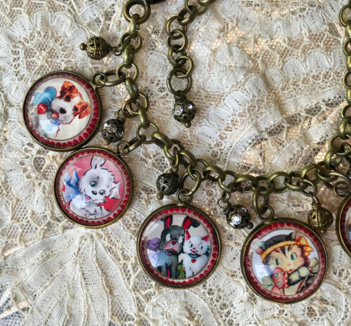 VINTAGE Cats and Dogs VALENTINES Altered Art GLASS CHARM BRACELET Retro Kids