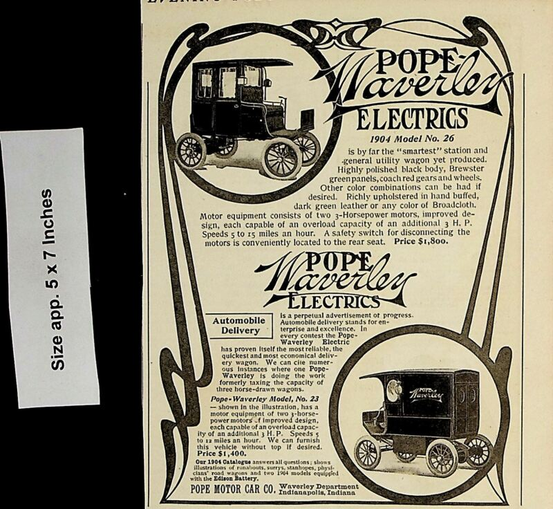1904 Pope Waverly Electric Automobile Car Vintage Print Ad 5096