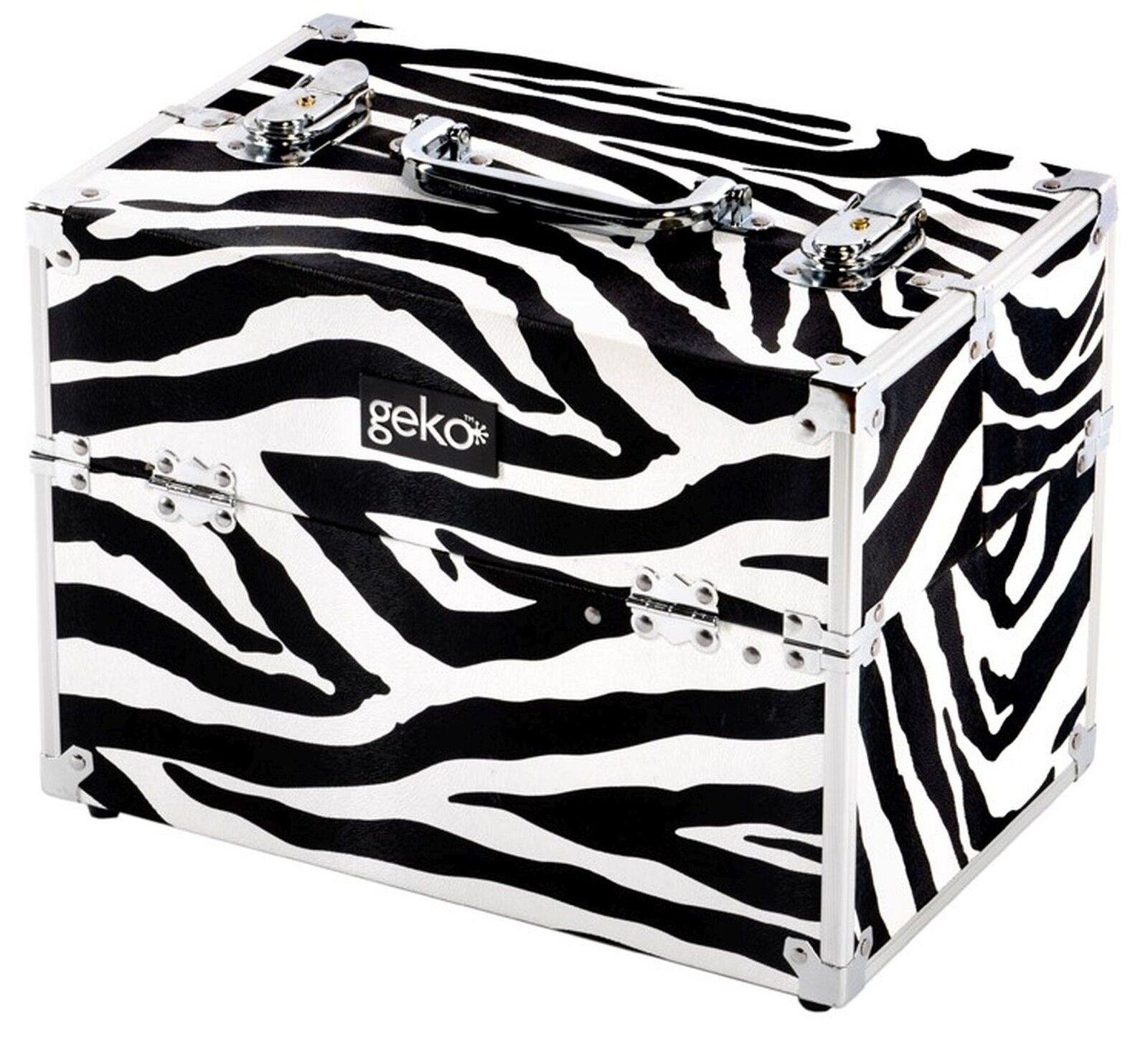 Details about Professional Personal Beauty Hairdresser Vanity Case Makeup Box Storage Zebra
