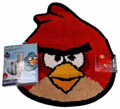 Rovio Angry Birds Red Bath Rug Shower Curtain Lot 2 Mat Blue Microfiber Pigs Set (Angry Birds Bath Rug)