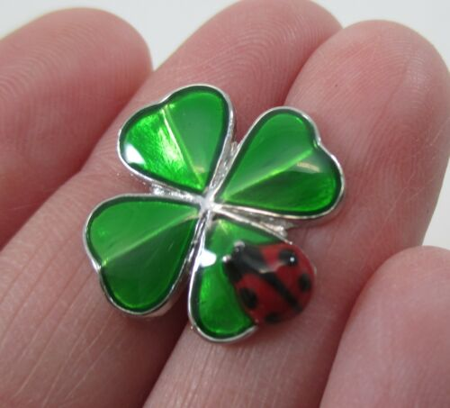zzQ TWICE THE LUCK ladybug 4 leaf clover POCKET CHARM good lucky fortune Ganz