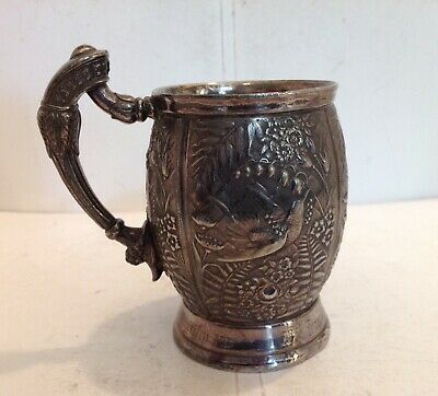 AMERICAN AESTHETIC MOVEMENT SILVER PLATED CHRISTENING MUG BY MERIDEN