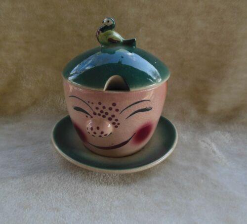 Handpainted Unique Sugar Bowl W/ Lid Spoon Slot Bird Handle Vintage Antique?