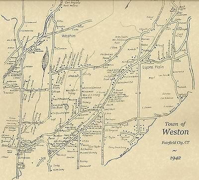 Weston Lyons Plain CT 1942 Map with Homeowners Names Shown