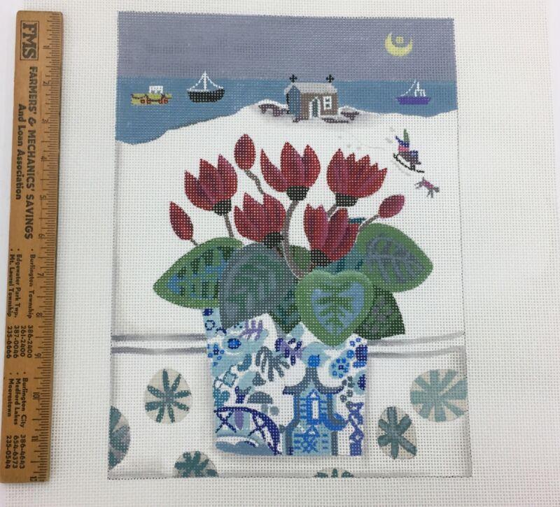 Handpainted Needlepoint Canvas Melissa Shirley Em Williams Snowy Cyclamen winter