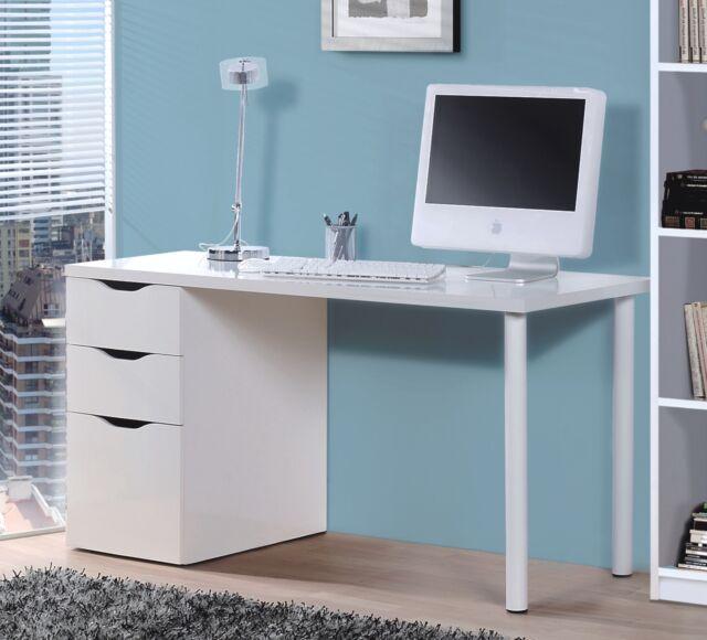 Ciara Office White Computer Study Desk Modern Workstation 1 Door 2 Drawer