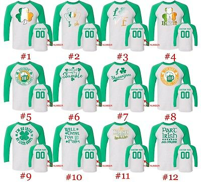 St. Patricks Day Customized Raglan Long Sleeve Shirts Text Name Number St Patty