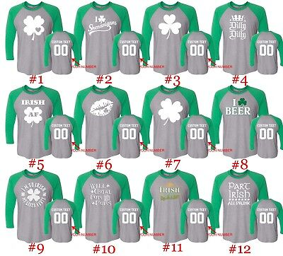 Customized St. Patricks Day Raglan Long Sleeve Shirts Text Name Number St Patty