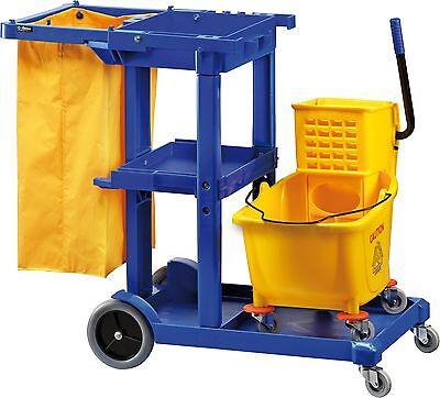 Carrello pulizia cm 114X51X98H plastica con secchio strizzatore e sacco carrelli