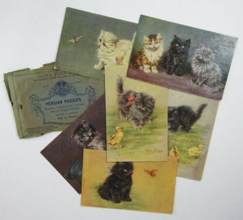Vintage Raphael Tuck Persian Kittens Cat Postcards Oilfacsim Original Envelope