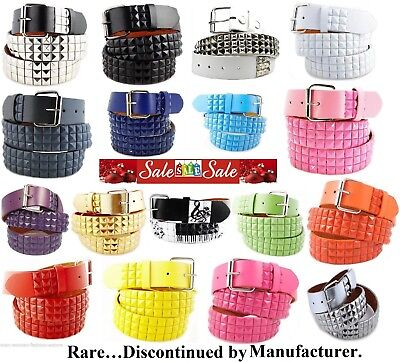 (New 3Rows Metal Pyramid Studded Leather Belt Unisex Men Women Punk Rock Goth Emo)
