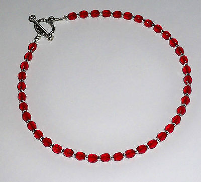 """Red Czech Beaded Anklet Ankle Bracelet - Toggle Clasp - 10"""""""