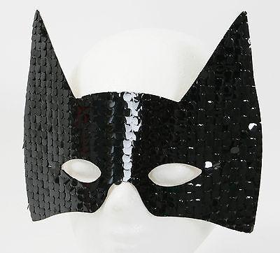 3er Set Domino Katze schwarz Pailletten Maske Katzenmaske 2. Wahl (Katze Maske Pailletten)