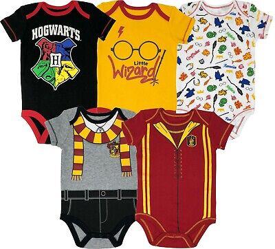 Warner Bros. Harry Potter Baby Boys' 5-Pack Bodysuits Hogwarts -
