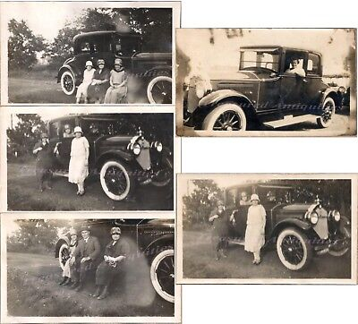 Family Man Women Drive Pose with 1924 Buick Model 24-48 4-Passenger Coupe Photo