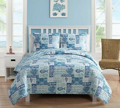 Coastal Quilt Set Queen Reversible Blue Beach Fish Comforter Bedding Bed Cover ()