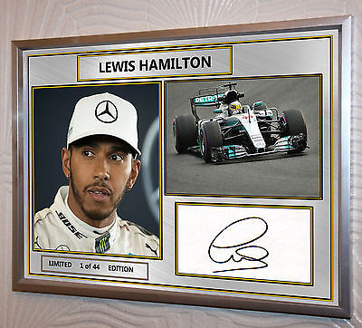 Lewis Hamilton F1 Mercedes 2017 Silver Framed Print Signed Limited Edition