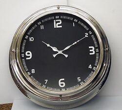 LARGE NICKEL- FINISH WALL 16 CLOCK