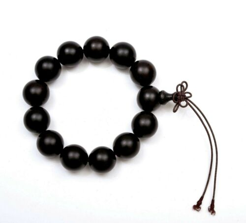 Chinese Ebony Wood Carved Carving Worry 17mm Hediao Bead Prayer Rosary Bracelet