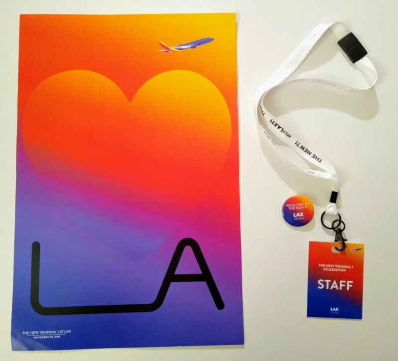 LAX Los Angeles Airport SWA Terminal 1 Renovation Poster, Button, Staff Badge