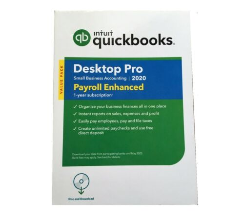 Intuit QuickBooks Desktop Pro 2020 With Enhanced Payroll Disc & Download Retail