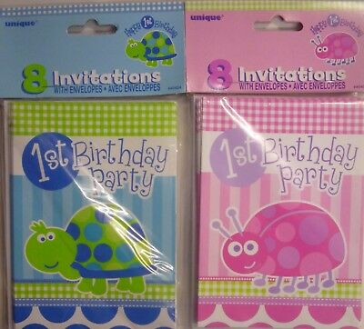 8 x 1st Birthday Blue Tortoise or Pink Ladybird Party Invitations & Envelopes - Ladybug Birthday Party Invitations
