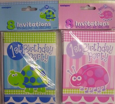 8 x 1st Birthday Blue Tortoise or Pink Ladybird Party Invitations & Envelopes - Ladybug 1st Birthday