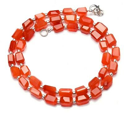 """Natural Gemstone Carnelian Faceted Nugget Beads Necklace 18"""" 122Cts."""