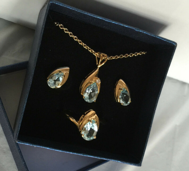 """QVC Gold Plated Earrings Pendant Ring Set 14K Blue Topaz 18"""" Chain Ring Size 8"""