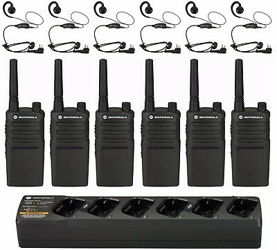 6 Motorola Rmu2040 Uhf Business Two-way Radios With Headsets Bank Charger